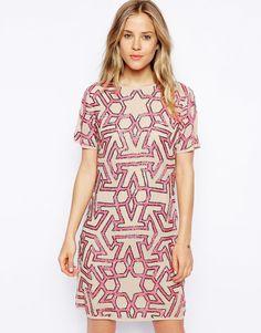 ASOS Graphic Beaded T-Shirt Dress