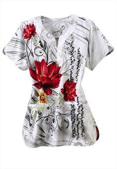 S.C.R.U.B.S. Floral Couture y-neck print scrub top.