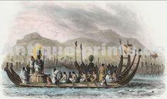 Flotte De Taiti Flotte De Taiti Tahiti. Gravure sur acier, gravée par A. Boilly. 1846. Aquarellée à la main. 18,5x11cm. Montée sous passe-partout.