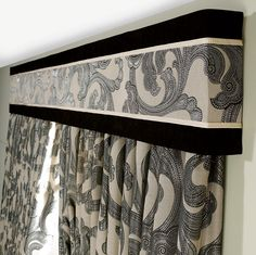 This nail head trimmed cornice board pelmet box valance can be used alone or as a finishing touch to your curtains or other window treatments. Pelmet Box, Window Cornices, Bay Window Curtains, Curtains With Blinds, Window Coverings, Valance Curtains, Valances, Bedroom Curtains, Drapery