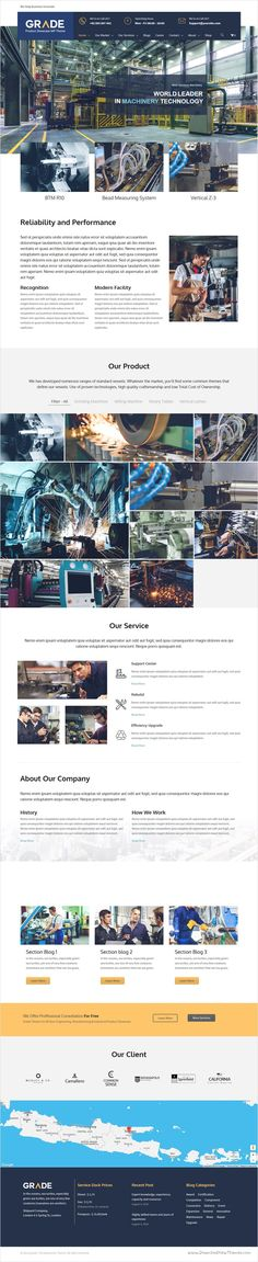 Grade - Engineering, Manufacturing & Industrial Product Showcase WP Theme equipment, Parts, Updates 30 May 2017 – Ver [ADDED] PHP Support [FIXED] error during theme activation on RTL mode [. Page Layout Design, Website Design Layout, Web Layout, Engineering Websites, Wordpress Theme Design, Website Design Inspiration, Resume Design, Portfolio Design, Industrial Industry