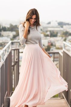 Amelia Full Pink Maxi Skirt by Lucy Paris - Morning Lavender