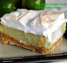 graham cracker crust, creamy, tangy lime filling (eggs, sweetened condensed milk, lime juice and zest and sour cream) all topped with a sweet vanilla bean meringue