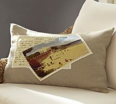 Beach Postcard Applique Lumbar Pillow Cover #potterybarn