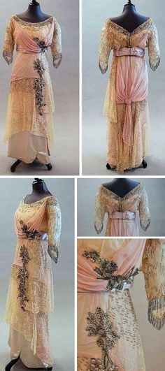 Evening gown, House of Drécoll, circa 1913. Bodice is of pale pink chiffon and blonde lace over ivory satin. There are tinted, sequined corsages down one side of the skirt and up to the bodice. Pink satin waistband; the sleeves have long, beaded fringes. Via Kerry Taylor Auctions. by SayaValentine