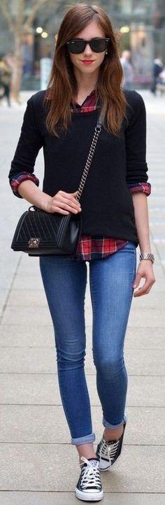 #september #trending #outfits | Black Sweater + Plaid Shirt + Denim