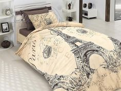 Elegant Brown & Tan Paris Eiffel Tower Bedding Full/Queen Duvet Cover Set with Flat Sheet Paris Themed Bedding, Paris Bedding, Duvet Bedding, Paris Rooms, Paris Bedroom, Dream Bedroom, Bedroom Decor, Cotton Bedding Sets, Cotton Duvet