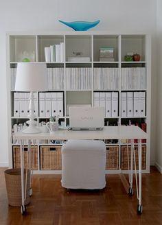 Two Desks Separated By Ikea Bookcase Home Office And Crafty