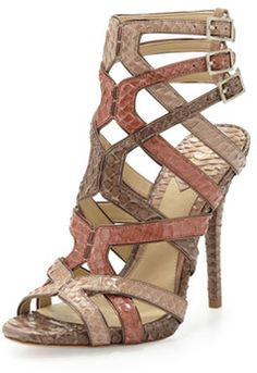 B Brian Atwood Carbinia Triple Buckle Snake Cage Sandal - 33% off, now $301.5 @ #NeimanMarcus  #BrianAtwood
