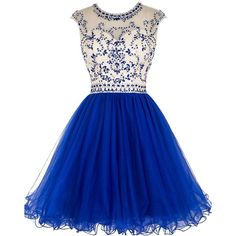 Tideclothes Short Beading Prom Dress Tulle Homecoming Dress Hollow... ($75) ❤ liked on Polyvore featuring dresses, prom dresses, beaded cocktail dress, short blue dresses, short prom dresses and prom homecoming dresses