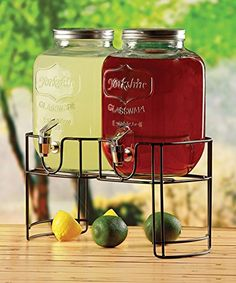 Double Yorkshire Mason Jar Glass Beverage Drink Dispensers with Metal Stand, 1 Gallon Each, 2 Gallon Total 100% Lead Free. Ideal for all types of cold beverages. Shaped to perfection. Base provides maximum stability. Made of clear glass enabling the color of the beverage to shine. Glass enhances and preserves the beverages aromas and