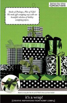 Stacks of Packages, Piles of Gifts!We make gift wrapping easy with our beautiful selection of holiday wrapping papers. Step by Step projects