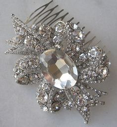 Rhinestone+Hair+Comb+Crystal+Bridal+Fascinator+by+TheRedMagnolia,+$64.00