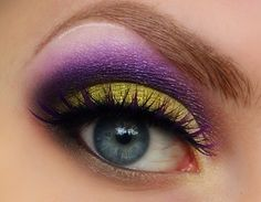 Lime and bright purple dramatic eye make up #makeup #eyes #eyeshadow by dolores