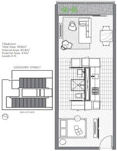 Sunday Apartments features 237 units which feature a compact central Pod that combines all the services and storage functions. Studio Apartment Floor Plans, Apartment Plans, Small Apartment Living, Small Apartments, Cabin Design, Small House Design, Small House Plans, House Floor Plans, Apartment Layout