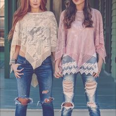 1 HR SALECHANTELLE lace poncho-PINK/CREAM HP 6/26So ️BOHO CHIC! great for layering, for a fun day out in the warm sun. Or transition to evening paired with leggings or skirt. ONLY 3 OF EACH COLOR ️AVAILABLE. ‼️️NO TRADE, PRICE FIRM‼️ Tops