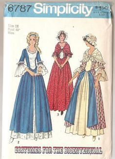 COSTUME BICENTENNIAL Colonial Ladies vintage REINACTMENT Gown, Shawl, Cap, Simplicity 6787 size 12 Misses dress shawl cap Sewing Pattern