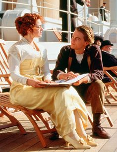 """Titanic""- (1997) Kate Winslet & Leonardo DiCaprio. The yellow dress is striking"
