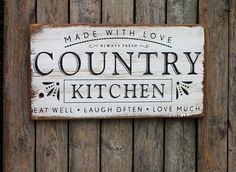 Welcome to our new shop! I was recently blessed with a pile of old wood and was inspired by my favorite show fixer upper to create something unique! We have a limited supply so get yours now. This listing is for a 20x12 sign that reads Made with love COUNTRY KITCHEN always fresh