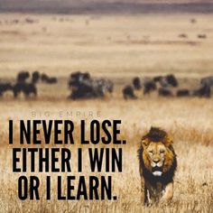 I never lose, either I win or I learn - Anon.