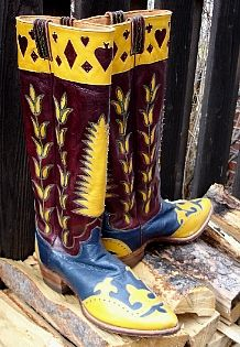 Tall Hyer Boots circa 1940...seems all the great designs are from the 40's. SOLD from Cayuse Gallery in Jackson, Wyoming. cayusewa.com