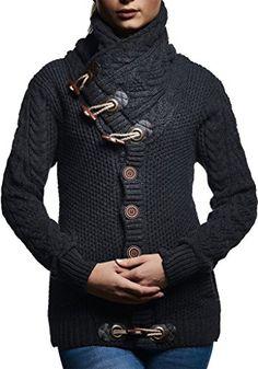 Neu Italy Winter Cardigan Strickjacke Jacke Vintage Blockstreifen BORDEAUX 36-38
