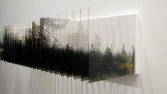 Layered Drawings by Nobuhiro Nakanishi. Photographs of the same scene over time laser printed onto acrylic.