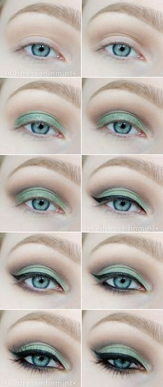 make up. - GREEN cut crease / step by step