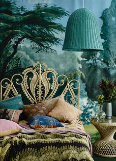 Bohemian Bedroom done up just right in peacock blue, moss green, and violet; backed by dramatic wall mural and iconic white wicker headboard. Dramatic wicker lamp highlights the overall decor. Home Bedroom, Bedroom Decor, Bedroom Ideas, Bedroom Designs, Headboard Designs, Budget Bedroom, Bedroom Colors, Fairytale Bedroom, Fairytale Home Decor
