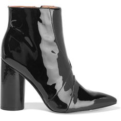 Sigerson Morrison Patent-leather ankle boots (£156) ❤ liked on Polyvore featuring shoes, boots, ankle booties, black, black ankle booties, black bootie, black boots, black patent booties and high heel boots