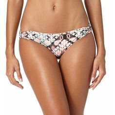 Op Juniors' Barcelona Scoop Swimsuit Bottom With Macrame Side Tabs, Size: Small, Multicolor