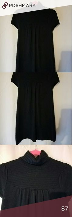 Sweater dress Black, turtleneck sweater dress. On very good condition. Cute belted with a long sleeve t-shirts underneath. Ann Taylor Dresses Midi