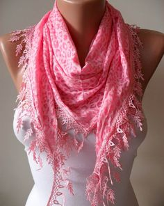Pink Leopard Scarf  with Trim Edge by SwedishShop on Etsy, $15.90
