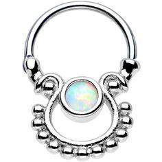 White Opal Egyptian Goddess Dangle Septum Clicker   Body Candy Body Jewelry #bodycandy