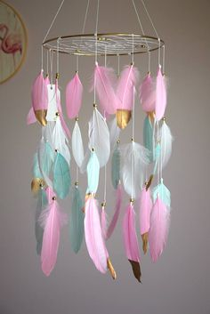 Baby Mobile Dream Catcher Mobile Baby Girl Mobile Pink Mint