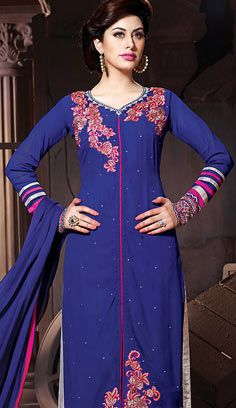 Indian Traditional Blue Georgette A Line Suit