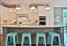Kitchen with stunning light turquoise bar stools - Decoist