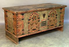 """Berks or Lehigh County, Pennsylvania painted dower chest dated 1774, 24 1/2"""" h. 49"""" w."""
