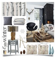 """""""Enjoy Winter ...."""" by loveartrecyclekardstock ❤ liked on Polyvore featuring interior, interiors, interior design, дом, home decor, interior decorating, H&M, Lazy Susan, Crate and Barrel и WallPops"""