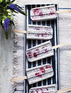 Raspberry, lime and coconut chia ice pops - A brilliant gluten free and dairy free summer treat.