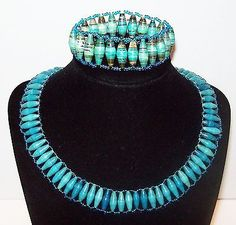 Vtg Turquoise Blue African Rolled Paper Bead Bracelet & Collar Necklace Set Seed