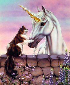 Unicornio y Gato de Sue Dawe.