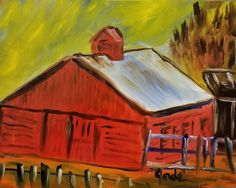 Red Barn in Corral Painting Impressionism Art, Impressionist, Vango Art, Original Art, Original Paintings, Artist Portfolio, Painting & Drawing, Amazing Art, Buy Art