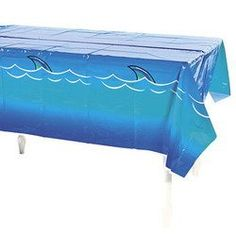 "Awesome SHARK Tablecloth/TABLE Cloth/Plastic 54 x 108/POOL PARTY/Jaws/SHARK WEEK/DISPOSABLE Decor by otc. $9.95. 54"" x 108"" disposable SHARK TABLE CLOTH.  New in package."
