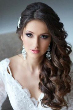 Wedding Hair Side Swept Curls With Veil Side Swept Hairstyles, 2015 Hairstyles, Down Hairstyles, Glamorous Hairstyles, Beautiful Hairstyles, Pinterest Hairstyles, Long Hair Bridal Hairstyles, Engagement Hairstyles, Stylish Hairstyles