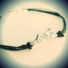 One of my new bracelets! Sterling leaves on green waxed linen...or you choose the color. $24