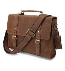 """Product Description Closure: Zipper Gender: Unisex Pattern Type: Solid Main Material: Genuine Leather Color: Brown Size: 13""""L x 2.5""""W x 9.5""""H Weight: 2.2 lb There is so much hustle and bustle in today"""
