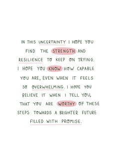 Uncertainty Card | A6 | Mental Health Positive Reminder Encouragement Support | Jess Rachel Sharp