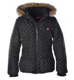 Flo winterjas met een all over ton sur ton stippenprint - shop @NummerZestien.eu