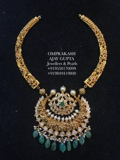 Neatly Handcrafted Nakshi Kante Necklace!!A Truely Desired Design...Top Quality Flat Diamonds and Emralds used. 24 April 2019